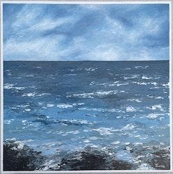 Akrylmålning med havsmotiv, 40 x 40 cm
