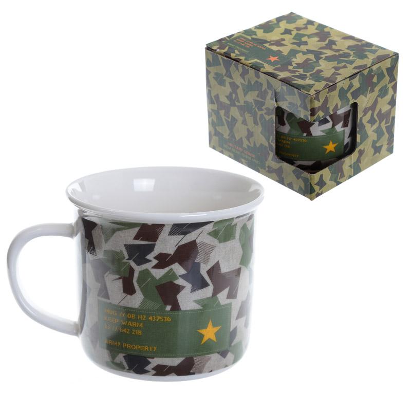 Kamouflage Emaljstil Benporslinsmugg