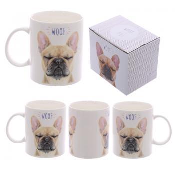 WOOF Fransk Bulldog Benporslins Mugg