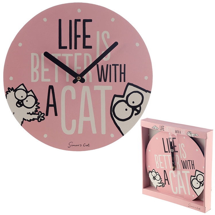 Life is Better With A Cat Simon's Cat Klocka
