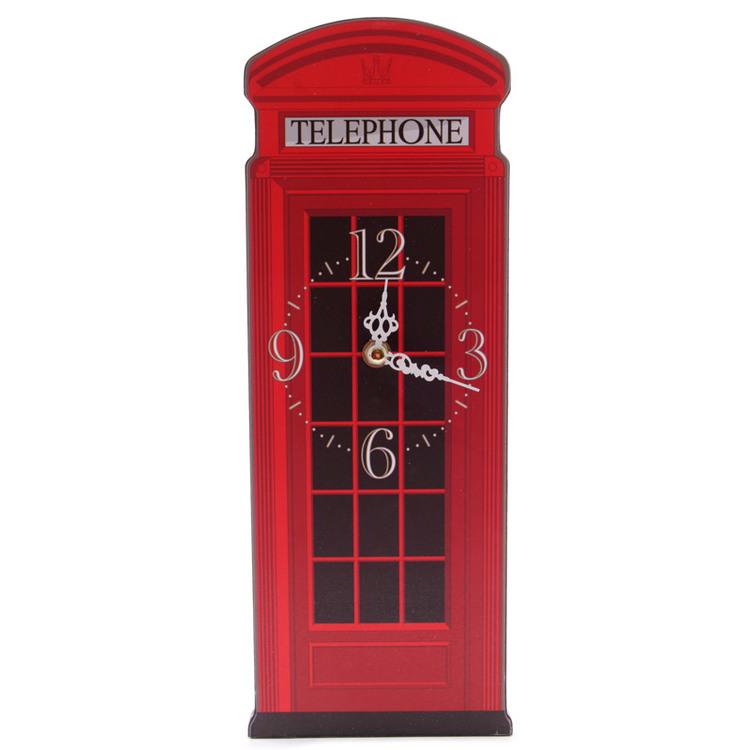 Röd Telefon kiosk ,Ted Smith Formad Klocka Bildmugg.se Roliga muggar och väggklockor
