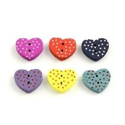 Gul Hjärtformad träknapp två hål