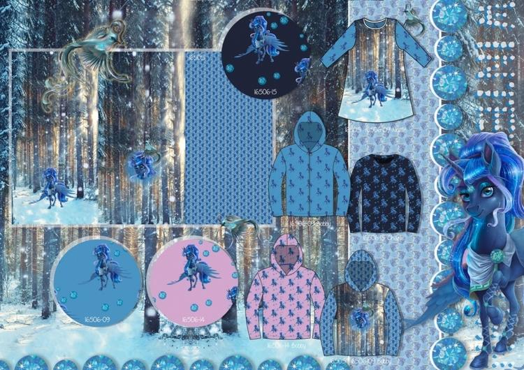 Hästar blå French terry panel