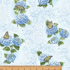Hydrangea Fresco Blue (vävd bomull)