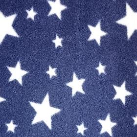 Vita stjärnor, blåbakgrund korallfleece