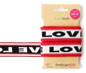 Hamburger Liebe elastiska band LOVE Vita med röda och silvriga band