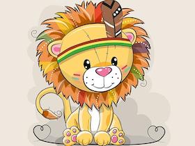 Lejon med fjäder panel joggingtyg