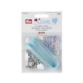 Prym Love Tryckknappar 8 mm Blekrosa, ljusblå och pärlevit
