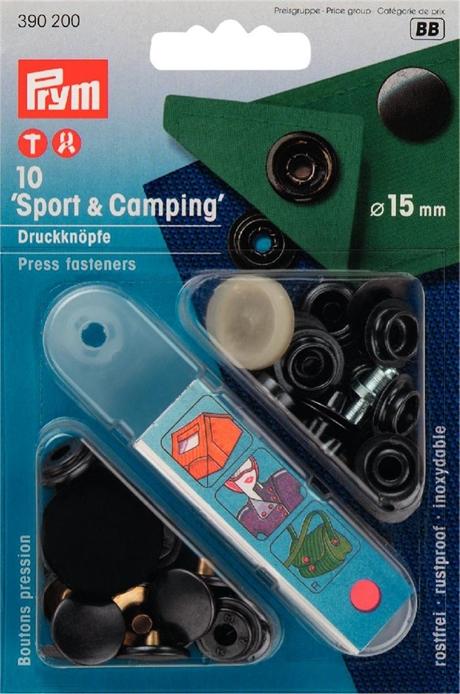 Prym Tryckknappar för Sport och Camping 15 mm Svart hatt