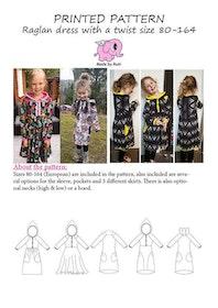 Made by Runi´s Raglan dress with a twist barn stl. 80-164