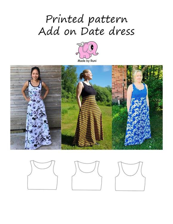 Made by Runi´s Date Dress dam, stl. 34-58 + add on Date dress