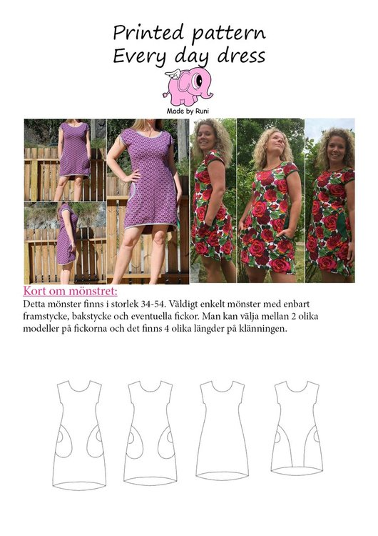 Made by Runi´s Every day dress paket, barn + dam