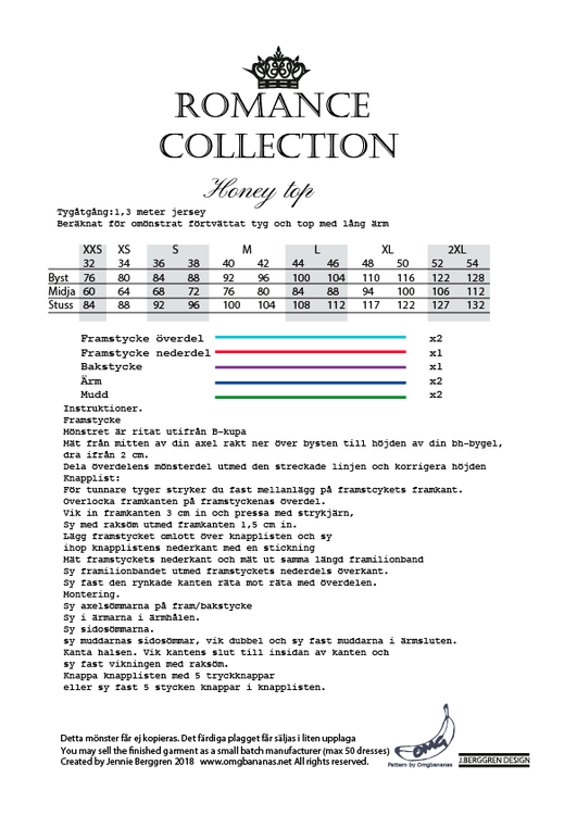 OMG Bananas Honey Top - Romance Collection stl. 34 - 54