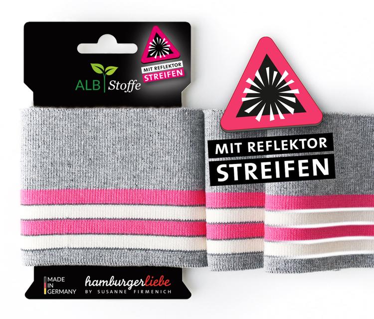 Hamburger Liebe´s Cuff Me Reflektor grå, rosa och vit