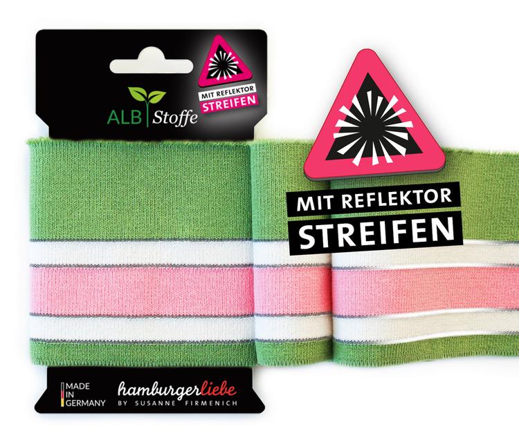 Hamburger Liebe´s Cuff Me Reflektor Grön, rosa och vit