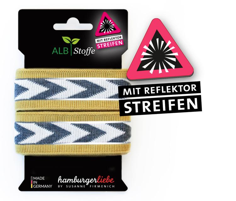 Hamburger Liebes stripes Reflektor Guld med gråa och vita pilar
