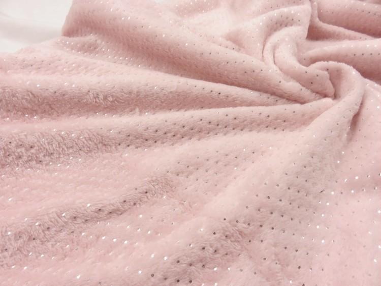 Rosa minky med silverprickar på ena sidan