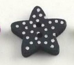 Mörkblå Stjärnformad träknapp två hål