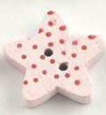 Ljusrosa Stjärnformad träknapp två hål