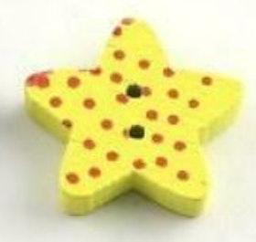 Gul Stjärnformad träknapp två hål