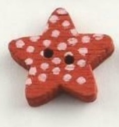 Röd Stjärnformad träknapp två hål
