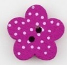 Cerise Blomformad träknapp två hål