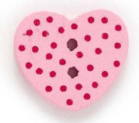Ljusrosa Hjärtformad träknapp två hål
