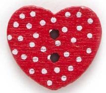 Röd Hjärtformad träknapp två hål