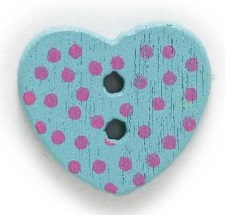 Turkos Hjärtformad träknapp två hål