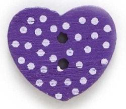 Lila Hjärtformad träknapp två hål