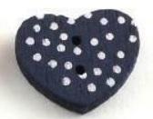 Mörkblå Hjärtformad träknapp två hål