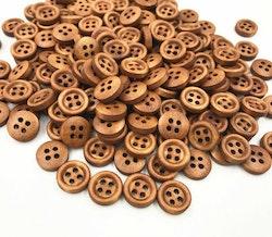 Mörkbruna runda knappar med fyra hål 12 mm