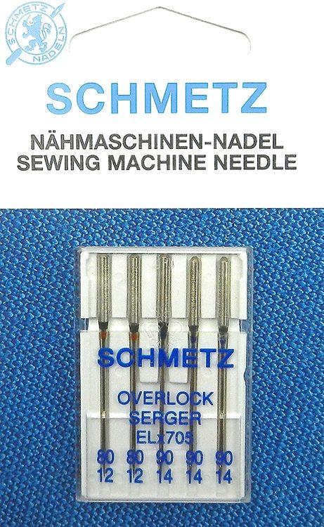 Schmetz Symaskinsnålar Overlock 80/12 \ 90/14 (ELx705)