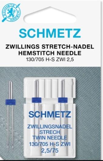 Schmetz Symaskinsnålar Tvilling Stretch 2,5/75 (130/705 H-S ZWI)
