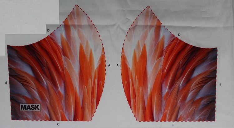 Flamingofjädrar, tyg för ansiktsmask