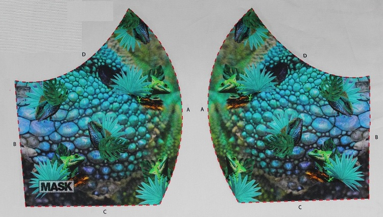 Kameleont närbild, tyg för ansiktsmask