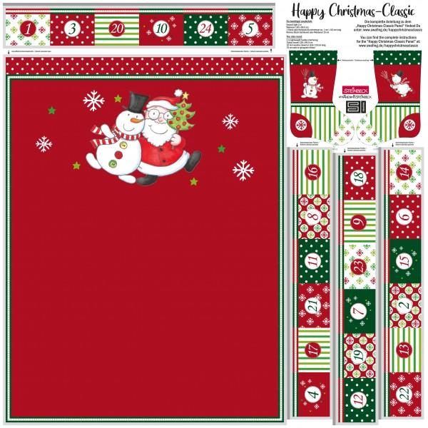 Adventskalender Happy Christmas Röd
