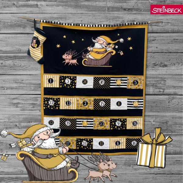 Adventskalender Happy Christmas Guld & Svart