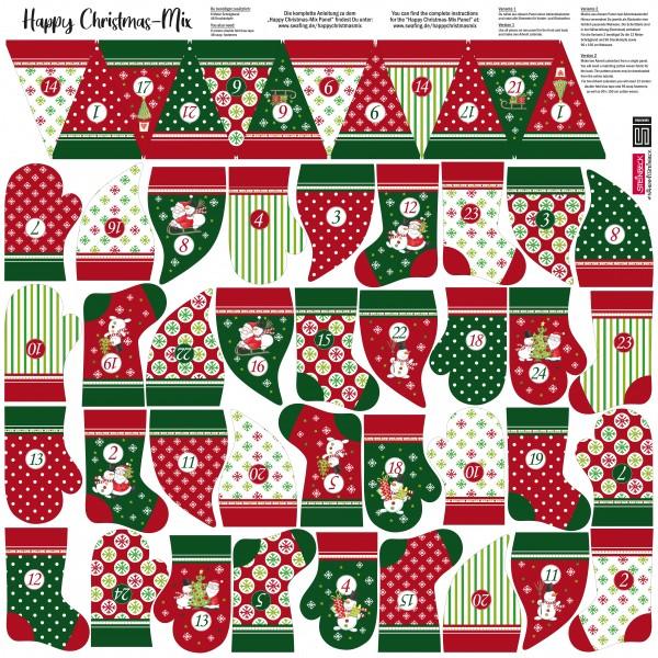 Adventskalender Happy Christmas mix röd