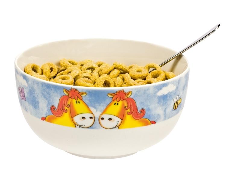 Middags set med hästmotiv -tallrik, mugg, skål och äggkopp