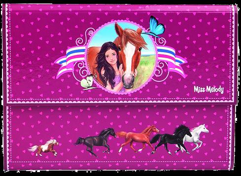 Miss Melody Brevpapper i mapp med hästmotiv