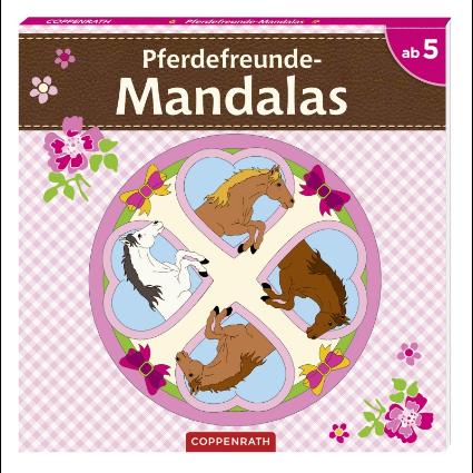 Mandalas målarbok med hästmotiv
