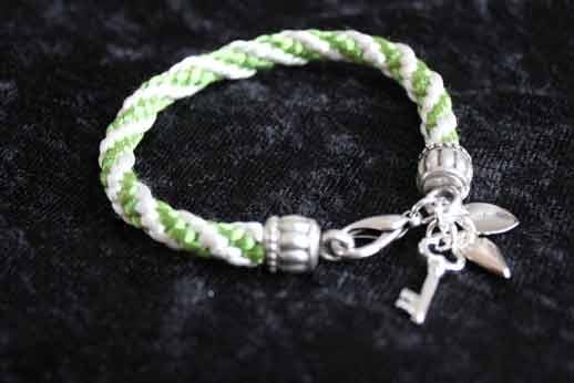 Armband Kumihimo Grön/Vit