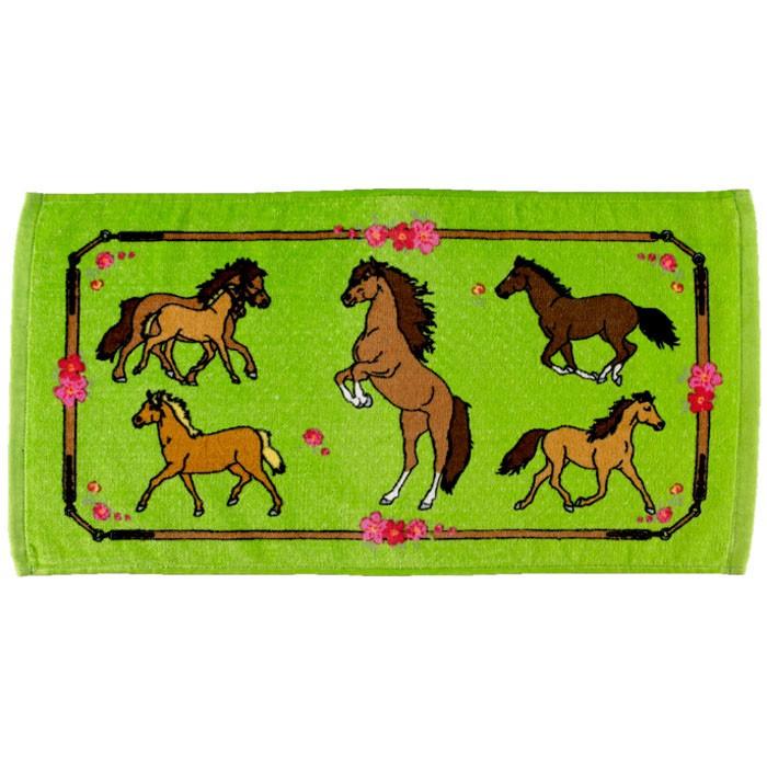 Liten magisk handduk Grön med hästmotiv