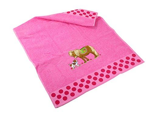 Handduk rosaprickig med hästmotiv
