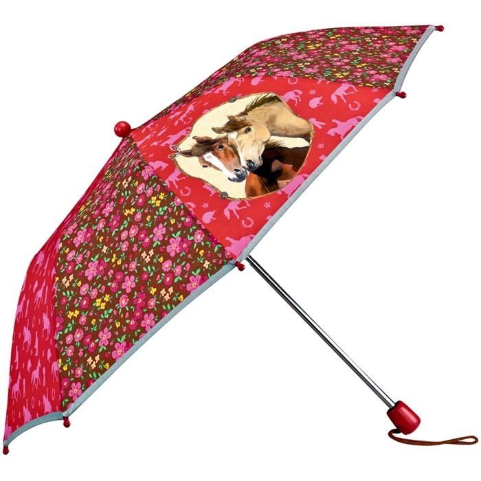 Paraply - ihopfällbart med hästmotiv