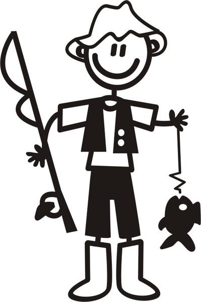Pappa med fiskeutrustning - The sticker family - dekaler i unika karaktärer