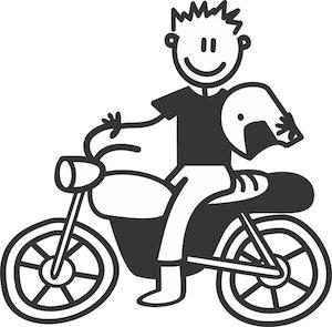 Pappa på motorcykel