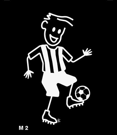 Man spelar fotboll – Funky Family – dekaler i unika karaktärer