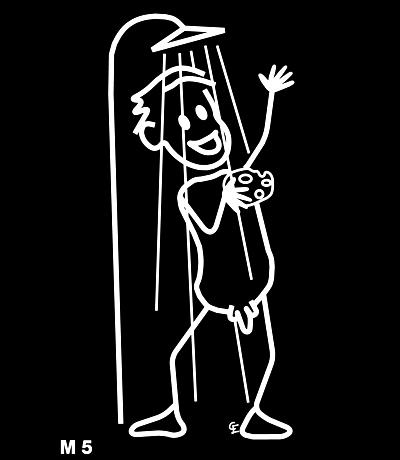Man i duschen – Funky Family – dekaler i unika karaktärer